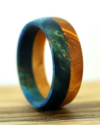 кольцо из двух пород дерева wooden ring two color