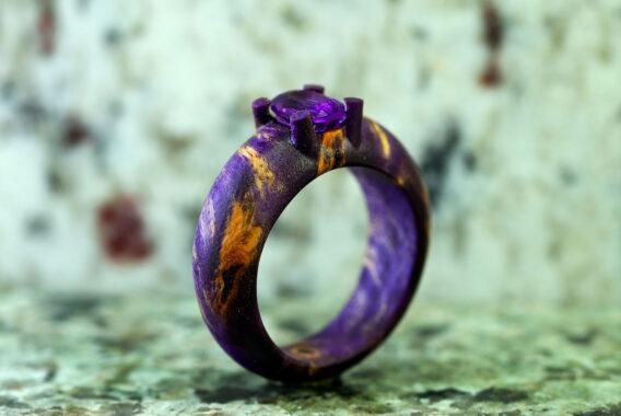 деревянное кольцо с камнем аметист wooden ring natural amethyst gemstone