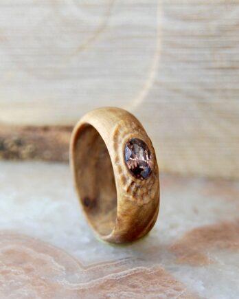 кольцо из стабилизированного дерева, деревянное кольцо из капа или сувеля, wooden ring, wooden ring with kristall