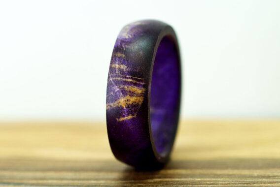 кольцо из стабилизированного дерева, деревянное кольцо из капа, purple wooden ring, purpleburl