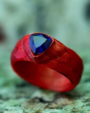 Кольцо из дерева вставка шпинель wooden ring blue shpinel gemstone