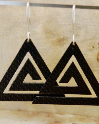 серьги из карбона, карбоновые серьги, carbon fiber earrings, triangle earrings, silver wire, серебрянвя проволока