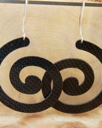 серьги из карбона, карбоновые серьги, carbon fiber earrings, spiral earrings, silver wire, серебрянвя проволока