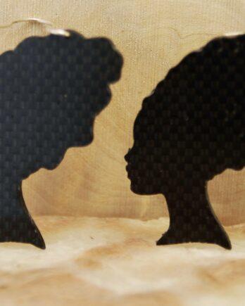 серьги из карбона, карбоновые серьги, carbon fiber earrings, turban girl earrings, silver wire, серебрянвя проволока