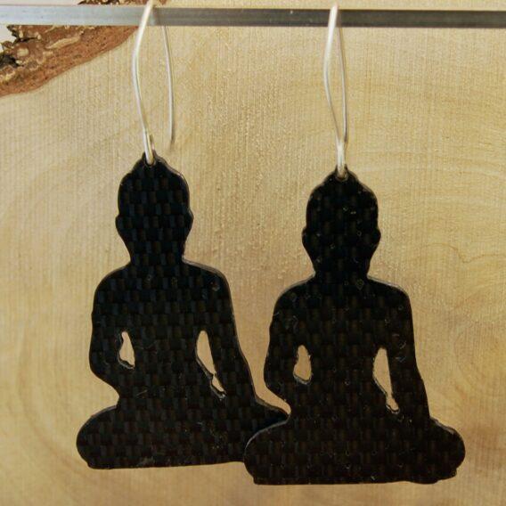серьги из карбона, карбоновые серьги, carbon fiber earrings, buddha earrings, silver wire, серебрянвя проволока