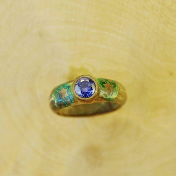кольцо с серебром из стабилизированного дерева, деревянное кольцо из капа с серебром, wooden ring, silver and wooden ring with crystal cubic zirconia, natural burl silver