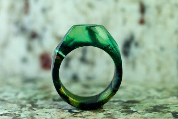 зеленое Деревянное кольцо с ювелирной смолой wooden ring with epoxy