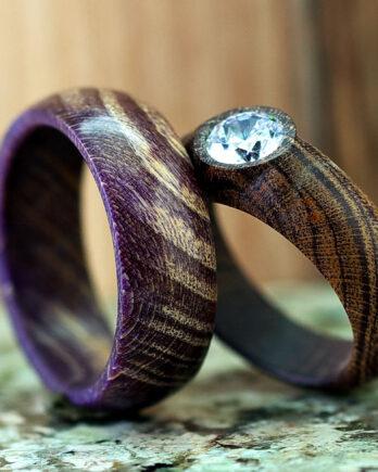 Парные кольца для влюбленных wooden wedding ring with gemstone pair rings